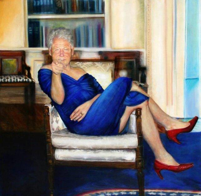 بیل کلینتون، رئیس جمهور اسبق آمریکا با لباس زنانه ، عکس